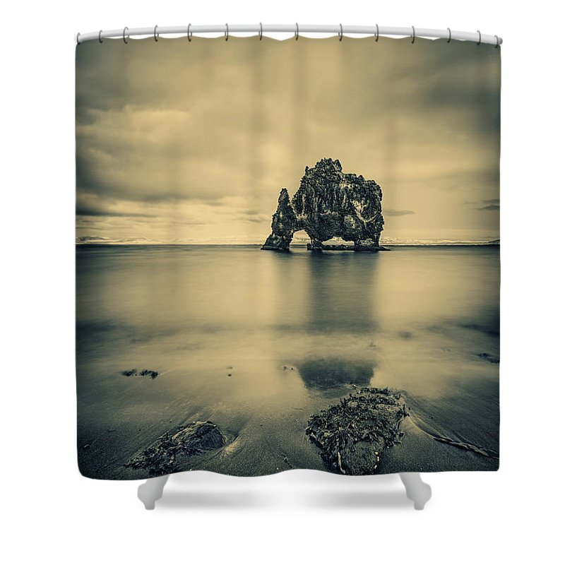 Hvitserkur Shower Curtain featuring the photograph Rock Of Ages by Evelina Kremsdorf