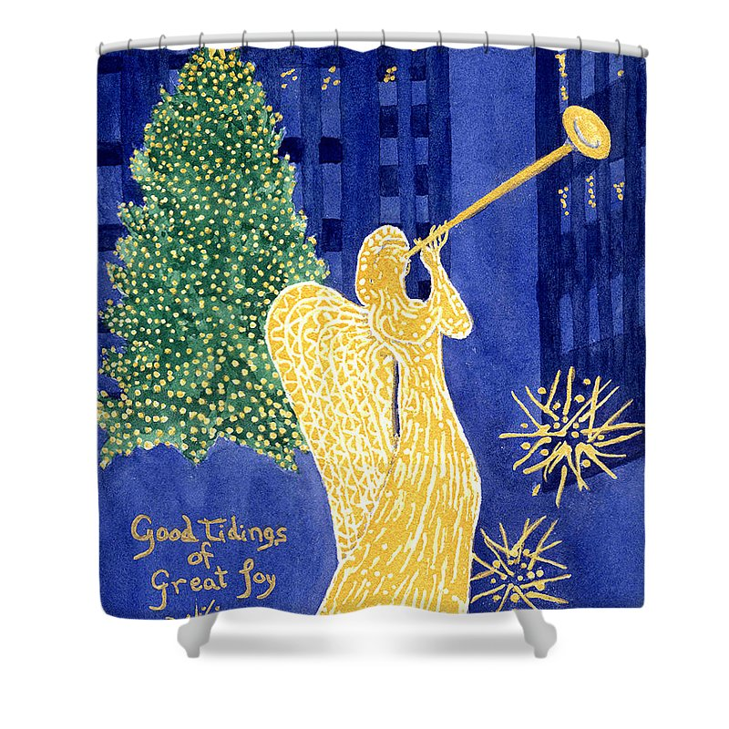Rockefeller Shower Curtain featuring the painting Rockefeller Angel by Rhonda Leonard