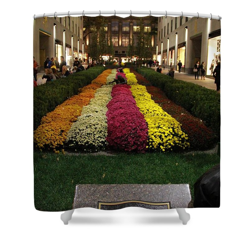 Rockefeller Center In Autumn Shower Curtain Featuring The Photograph  Rockefeller Center In Autumn By Dan Sproul