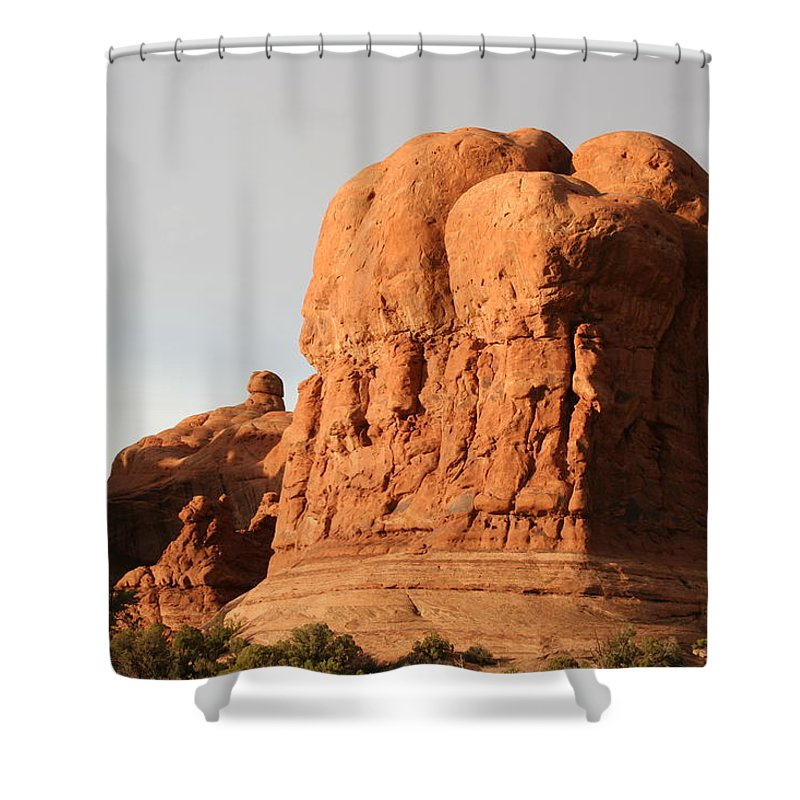 Rocks Shower Curtain featuring the photograph Rockformation Arches Park by Christiane Schulze Art And Photography