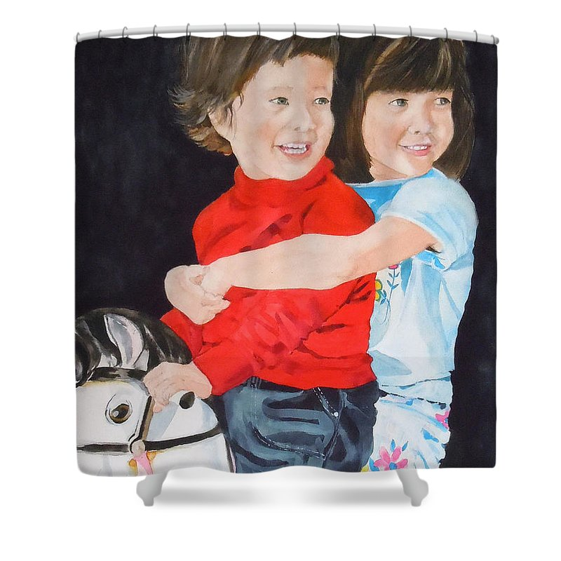Horse Shower Curtain featuring the painting Rocking Away by Jean Blackmer