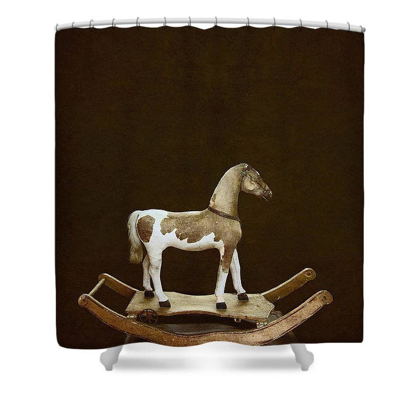 Rocking; Rocking Horse; Mohair; Hair; Fur; Toy; Play; Wooden; Wood; Amusement; Classic; Entertainment; Ride; Horse; Timeless; Pony; Bridle; Vintage; Beautiful; Art; Serene; Strong; Homemade; Dark; Darkness; Trunk; Top; On Top; Still Life; Child; Childs; Children; Animal; Mammal Shower Curtain featuring the photograph Rocking by Margie Hurwich