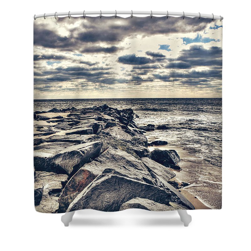 Cape May Shower Curtain featuring the photograph Rocks At Cape May by Emily Kay