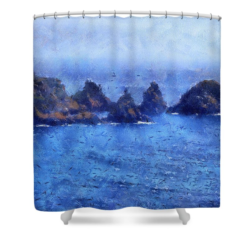 Isle Of Guernsey Shower Curtain featuring the digital art Rocks On Isle Of Guernsey by Bellesouth Studio