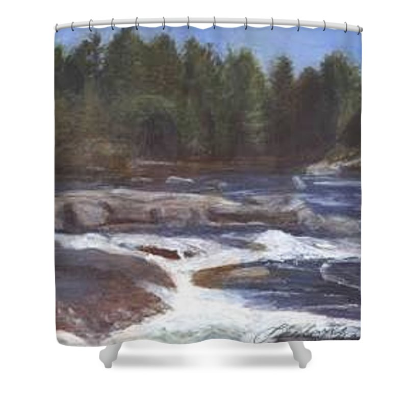 Rocks Shower Curtain featuring the painting Rocks by Sheila Mashaw