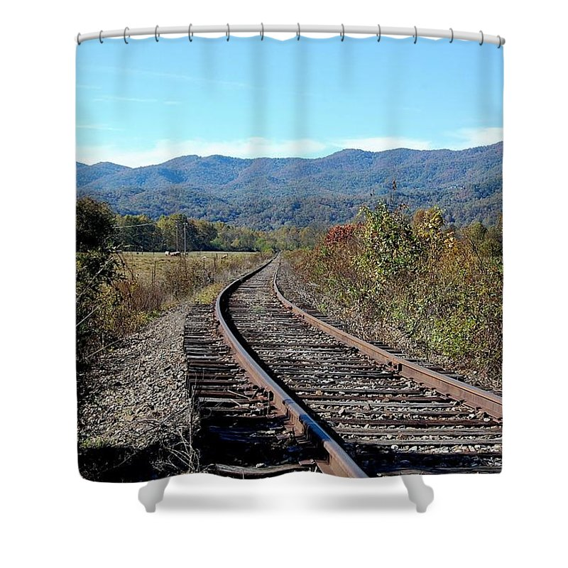 Landscape Shower Curtain featuring the photograph Rocky Creek Railroad by Alan Sieg