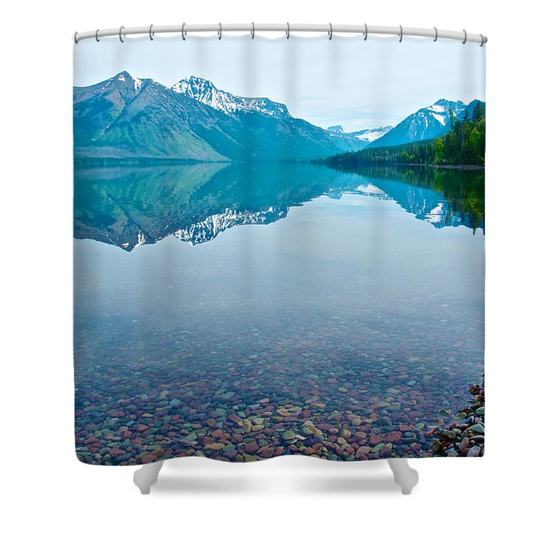 Rocky Mountain Shower Curtain featuring the photograph Rocky Mountain And Rocky Bottom Reflection In Lake Mcdonald In Glacier National Park-montana by Ruth Hager