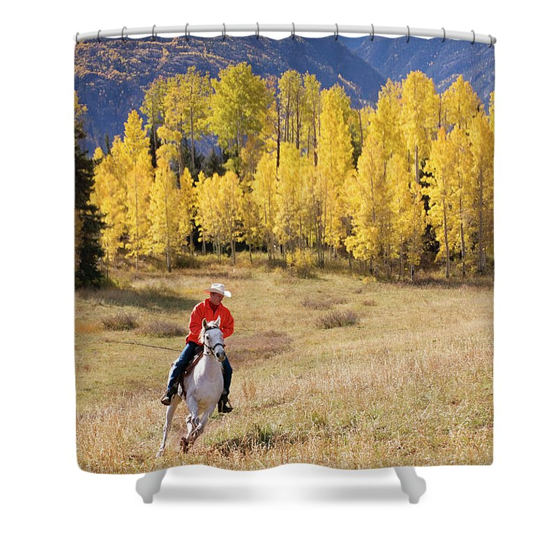 San Juan Mountains Shower Curtain featuring the photograph Rocky Mountain Cowboy by Amygdala imagery