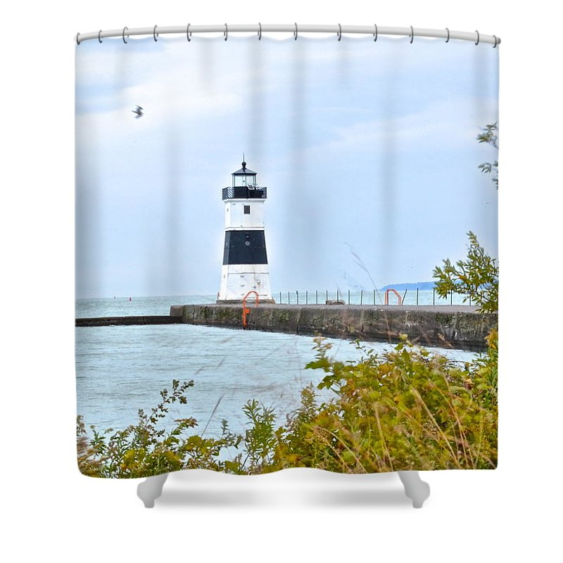Cleveland Shower Curtain featuring the photograph Rocky River Pier by Frozen in Time Fine Art Photography