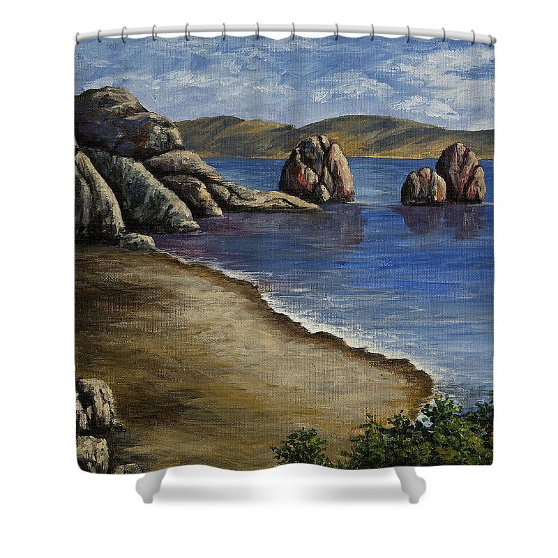 Ocean Shower Curtain featuring the painting Rocky Shore by Darice Machel McGuire