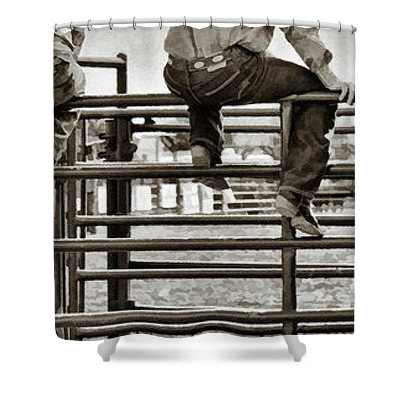 Rodeo Shower Curtain featuring the photograph Rodeo Fence Sitters- Sepia by Priscilla Burgers