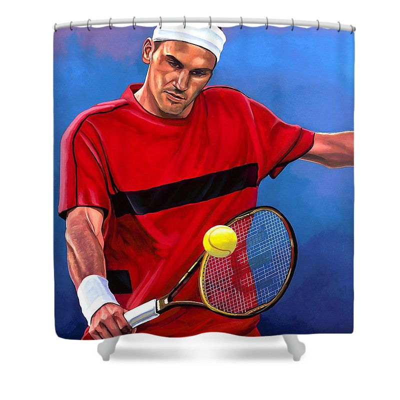 Roger Federer Shower Curtain featuring the painting Roger Federer The Swiss Maestro by Paul Meijering
