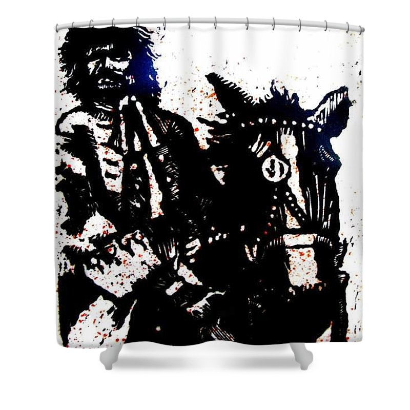 English Highwayman Shower Curtain featuring the mixed media Rogue of the Road by Seth Weaver