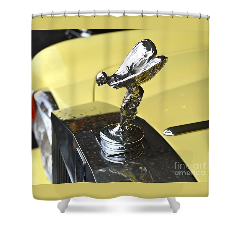 Rolls Royce Shower Curtain featuring the photograph Rolls Royce Hood Ornament by Pamela Walrath
