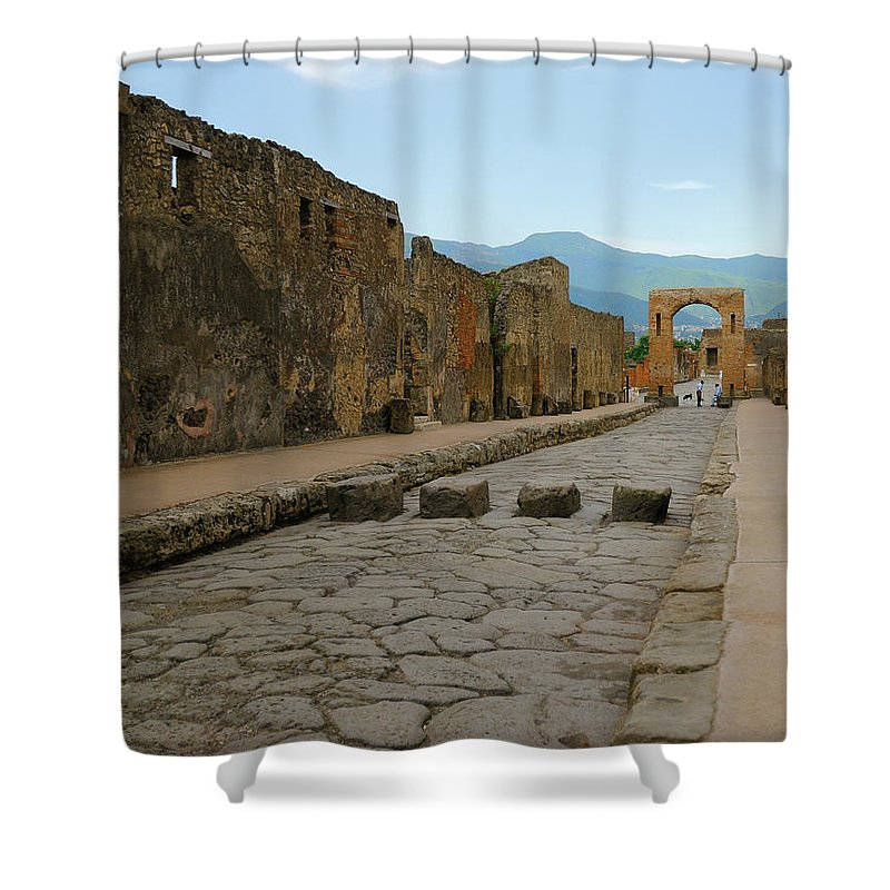 Pompeii. Italy Shower Curtain featuring the photograph Roman Street In Pompeii by Alan Toepfer