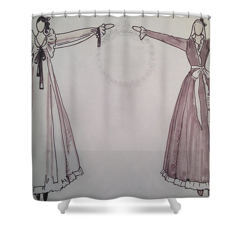 Fashion Illustration Shower Curtain featuring the drawing Romance by Sarah Parks