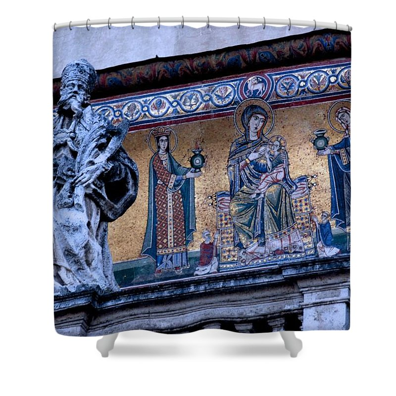Rome Shower Curtain featuring the photograph Romanesque Campanile by Eric Tressler
