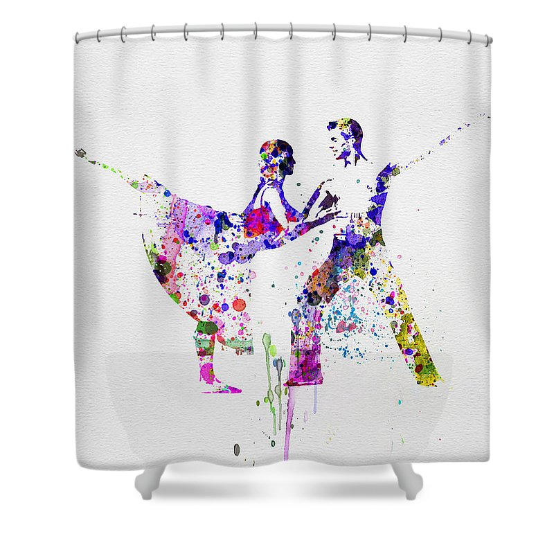 Ballet Shower Curtain featuring the painting Romantic Ballet Watercolor 2 by Naxart Studio