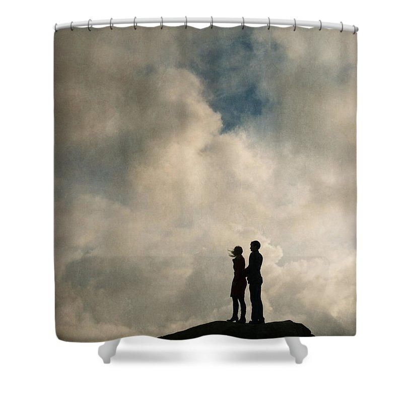 Couple Shower Curtain featuring the photograph Romantic Couple On A Mountain Peak by Lee Avison