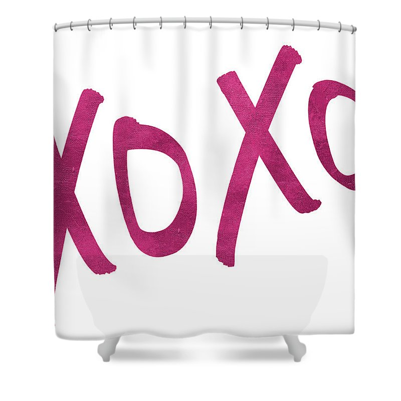 Romantic Shower Curtain Featuring The Digital Art Pink Xoxo By Sd Graphics Studio