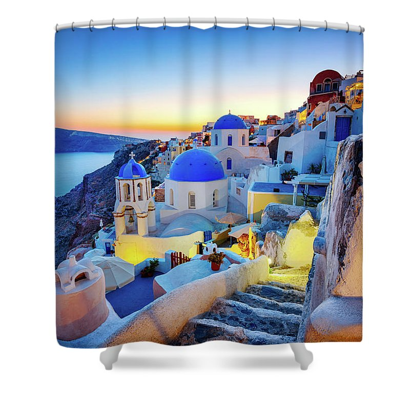 Greek Culture Shower Curtain featuring the photograph Romantic Travel Destination Oia by Mbbirdy