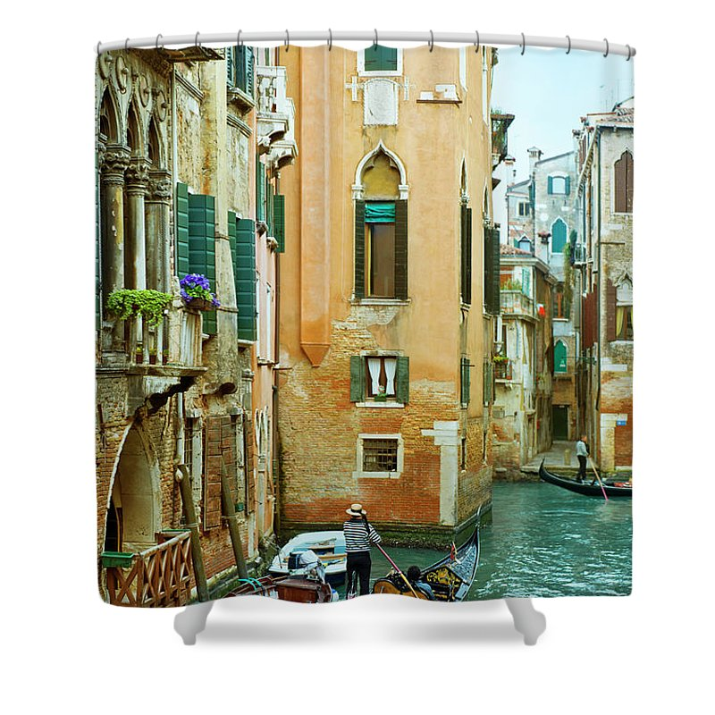 Heterosexual Couple Shower Curtain featuring the photograph Romantic Venice Views From Gondola by Caracterdesign
