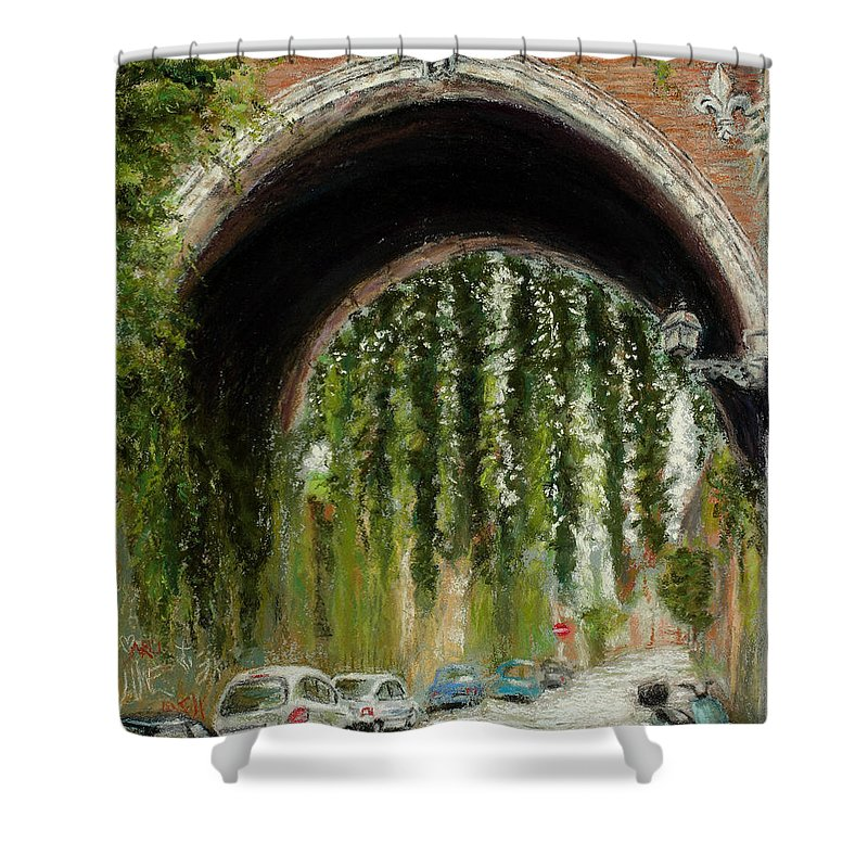 Pastel Shower Curtain featuring the painting Rome Street Scene by Mary Benke