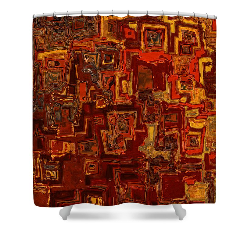 Abstract Shower Curtain featuring the painting Rooftops by Jack Zulli
