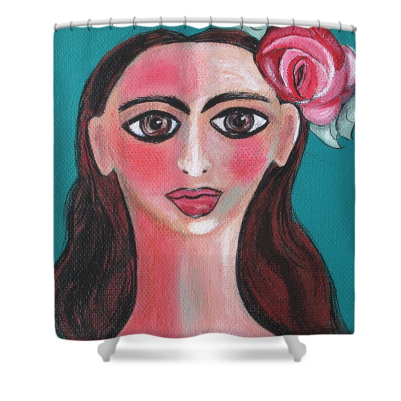 Canvas Shower Curtain featuring the painting Rosa by Sue Wright