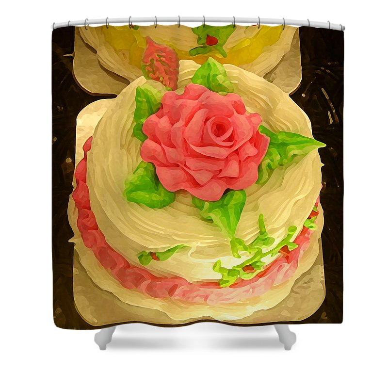 Food Shower Curtain featuring the painting Rose Cakes by Amy Vangsgard