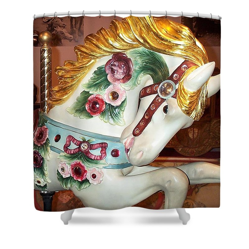 Carousel Pony Shower Curtain featuring the photograph Rose Covered Pony by Barbara McDevitt