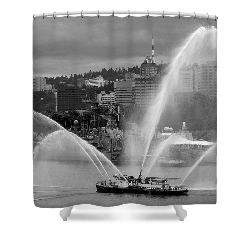 Rose Festival Fire Boat Shower Curtain featuring the photograph Rose Festival Fire Boat by Wes and Dotty Weber
