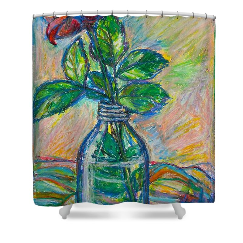 Still Life Shower Curtain featuring the painting Rose In A Bottle by Kendall Kessler