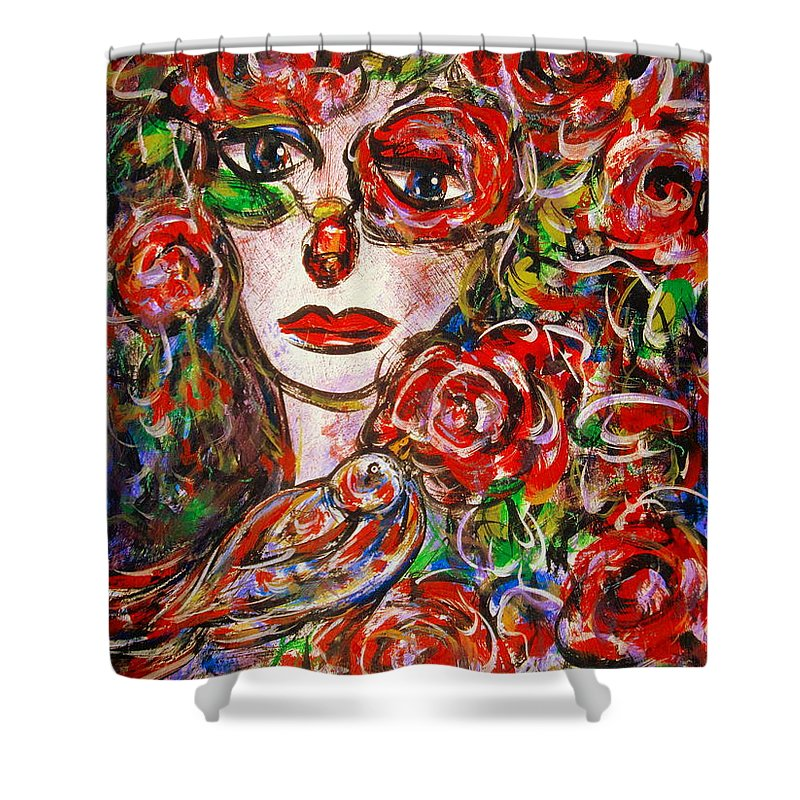 Expressionism Shower Curtain featuring the painting Rose by Natalie Holland
