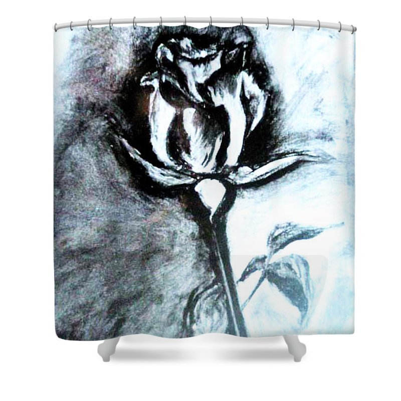 Original Shower Curtain featuring the painting Rosebud by Kusum Vij