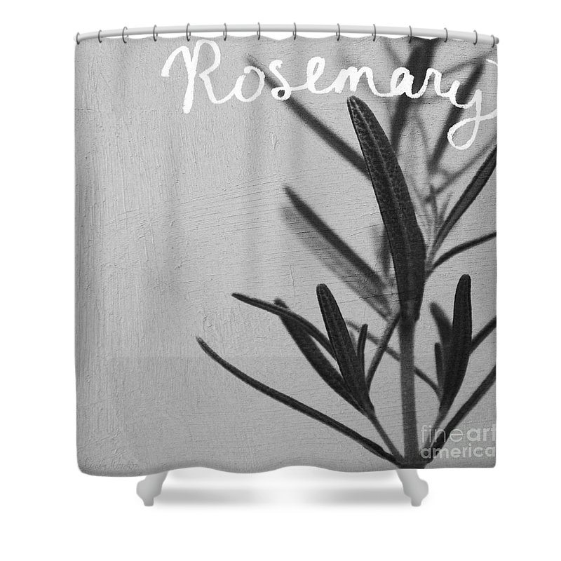 Rosemary Shower Curtain featuring the mixed media Rosemary by Linda Woods