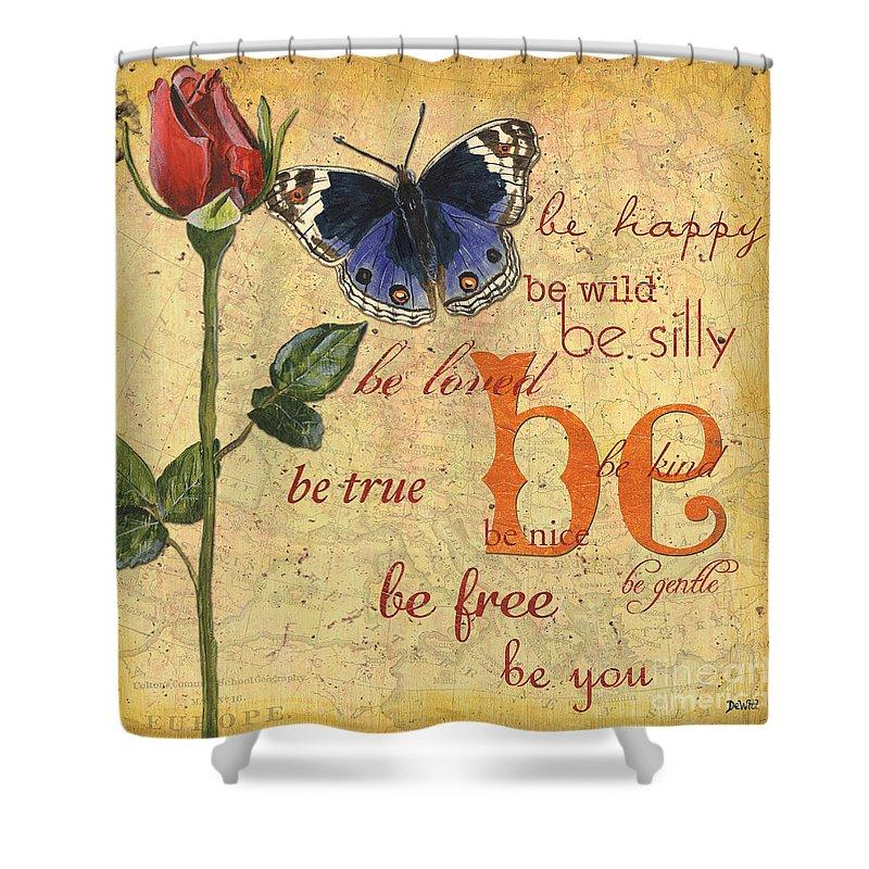 Butterflies Shower Curtain featuring the mixed media Roses and Butterflies 1 by Debbie DeWitt