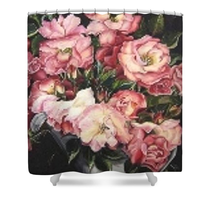 Pink Roses Floral Flowers Shower Curtain featuring the painting Roses in a watercan by Karin Dawn Kelshall- Best