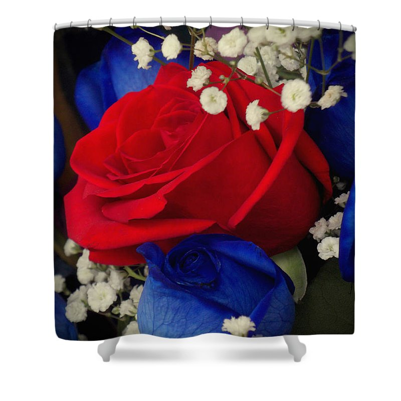 Flowers Shower Curtain featuring the photograph Roses - Red White And Blue by Miriam Danar
