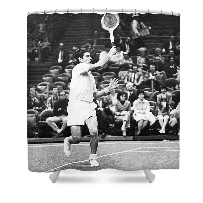 1960s Shower Curtain featuring the photograph Rosewall Playing Tennis by Underwood Archives
