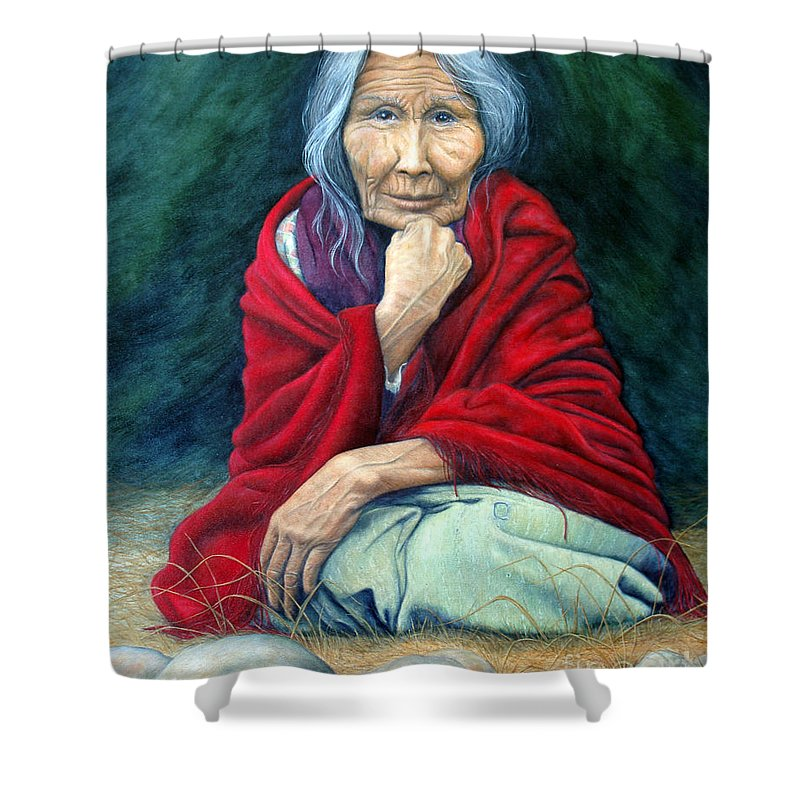 1st Nations Shower Curtain featuring the painting Rosie Remembered by Joey Nash