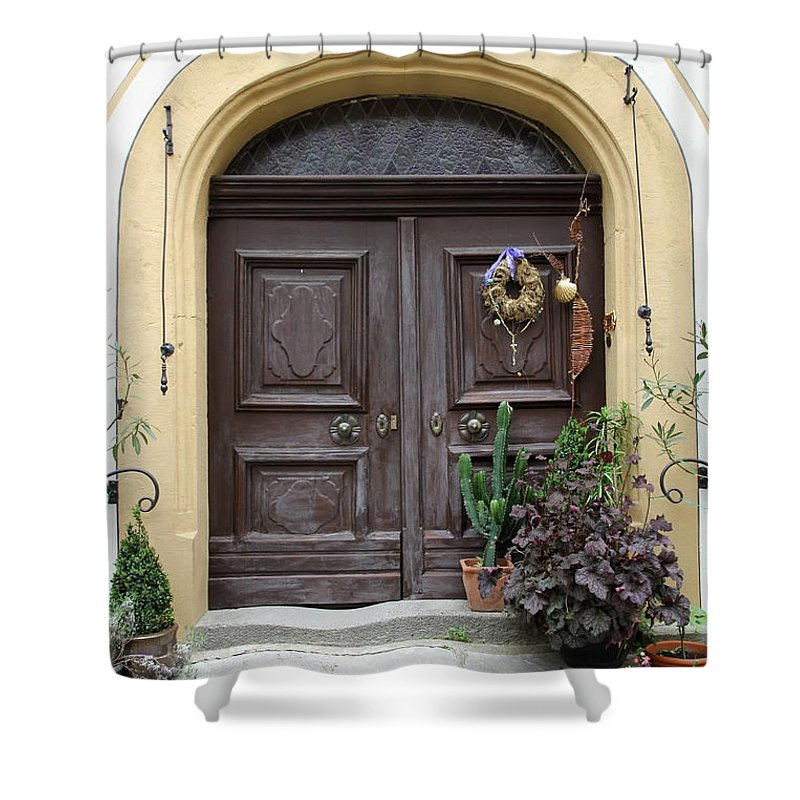 Village Shower Curtain featuring the photograph Rothenburg Ob Der Tauber Door by Christiane Schulze Art And Photography