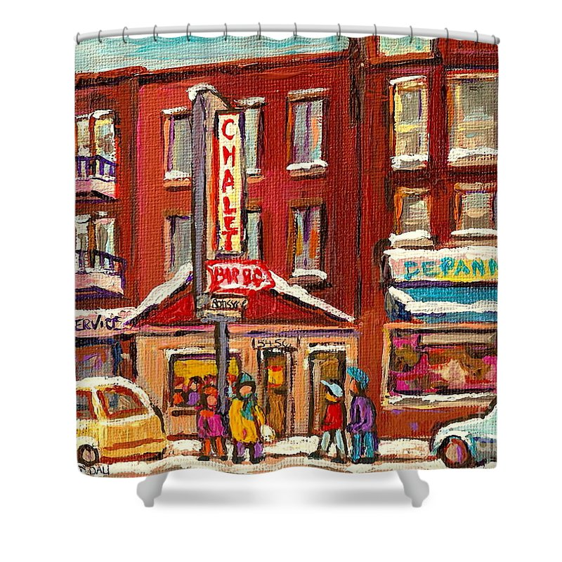 Montreal Shower Curtain featuring the painting Rotisserie Le Chalet Bar B Q Sherbrooke West Montreal Winter City Scene by Carole Spandau