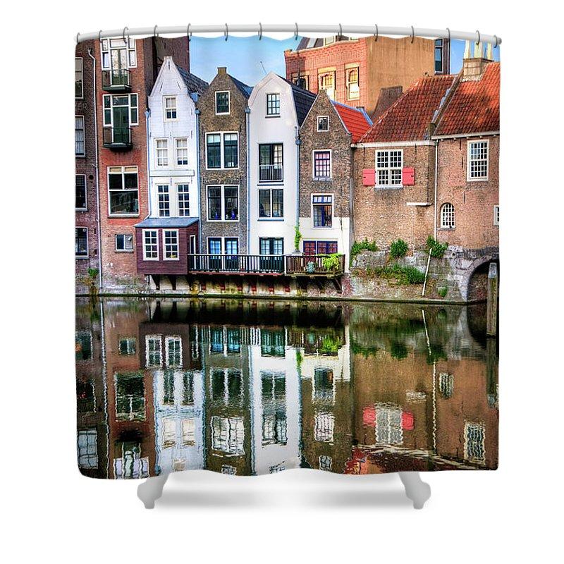 Dawn Shower Curtain featuring the photograph Rotterdams Delfshaven With His Historic by Aleksandargeorgiev