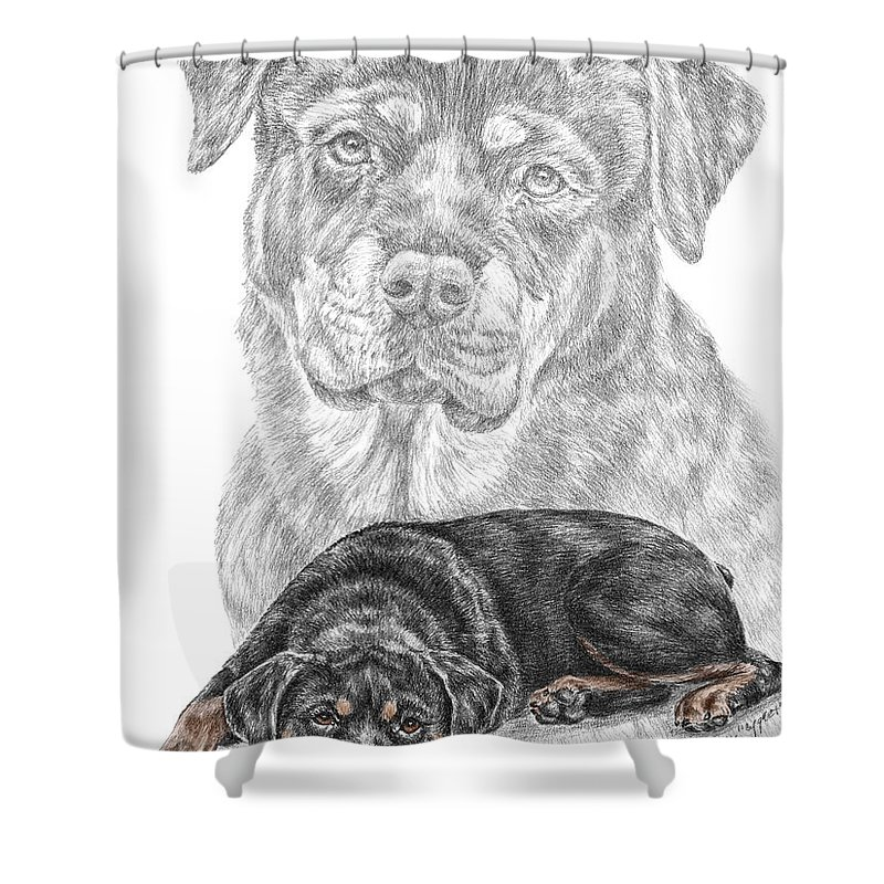Rottie Shower Curtain Featuring The Drawing Charm