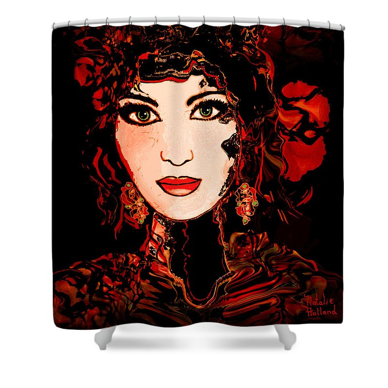 Woman Shower Curtain featuring the mixed media Rouge by Natalie Holland