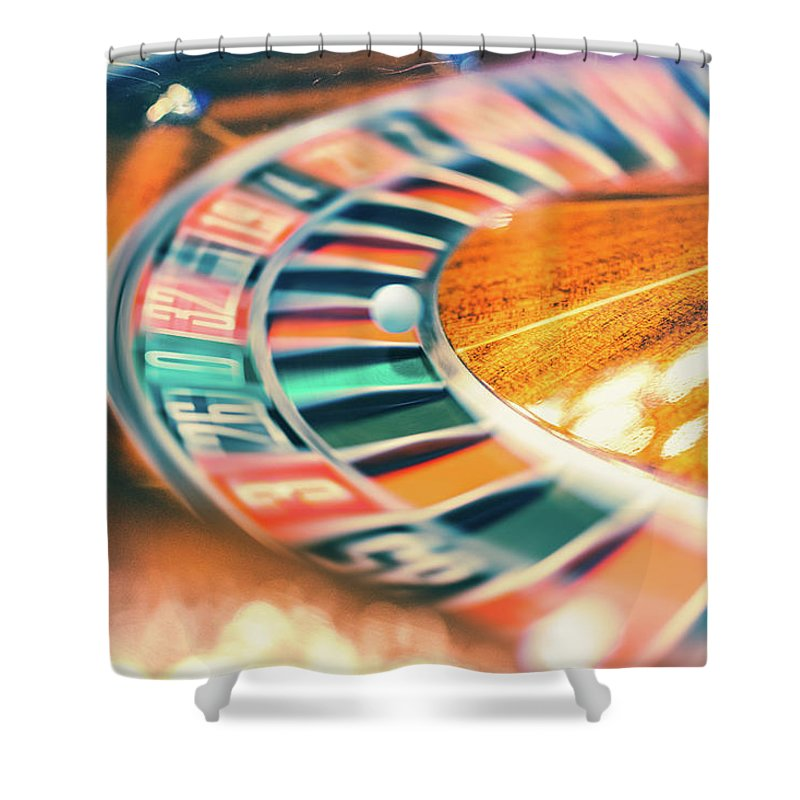 Risk Shower Curtain featuring the photograph Roulette Wheel In Motion by Deimagine
