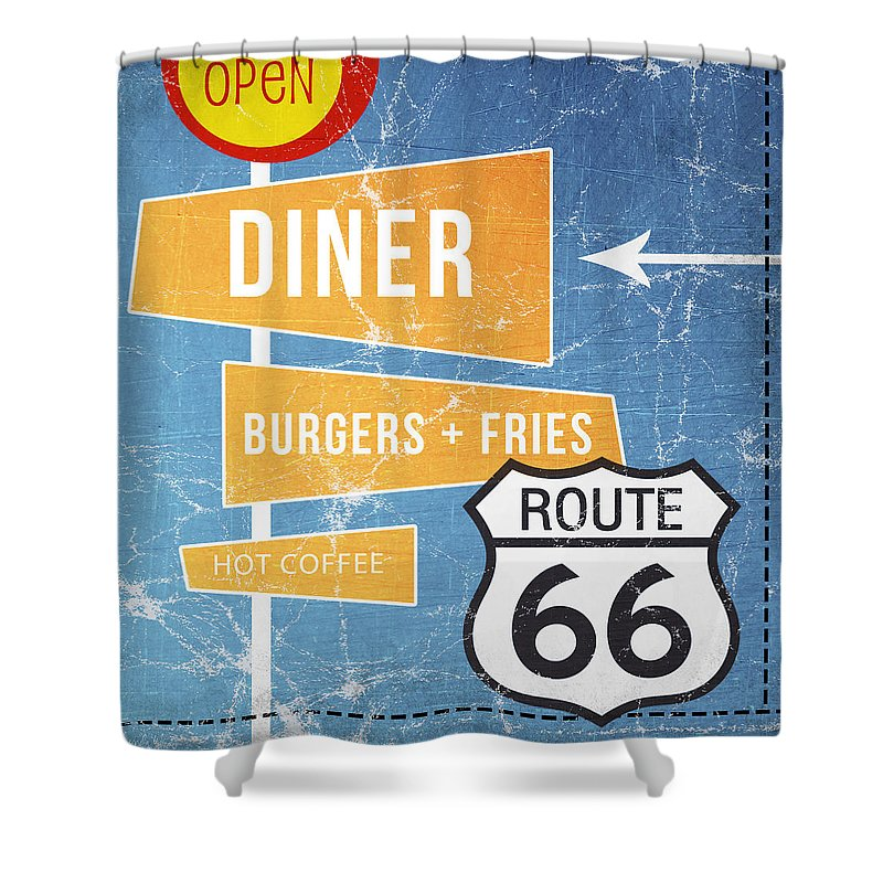 Diner Shower Curtain featuring the painting Route 66 Diner by Linda Woods