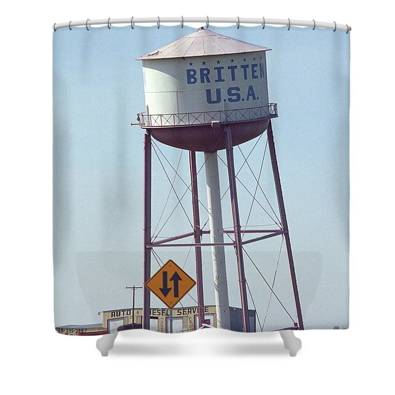 66 Shower Curtain featuring the photograph Route 66 - Leaning Water Tower by Frank Romeo