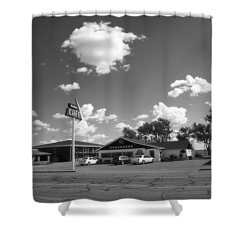 66 Shower Curtain featuring the photograph Route 66 - Midpoint Cafe Adrian Texas by Frank Romeo